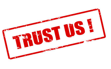 reliance: Rubber stamp with text trust us inside, vector illustration
