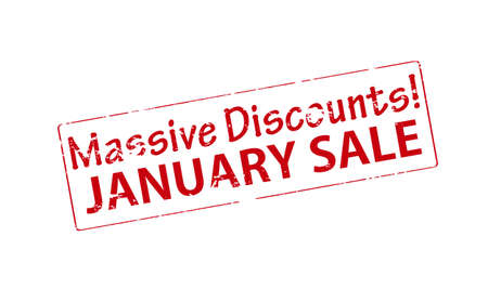 massive: Rubber stamp with text massive discounts January sale inside, vector illustration Illustration