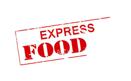 tommy: Rubber stamp with text express food inside, vector illustration