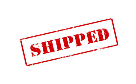 shipped: Rubber stamp with word shipped inside, vector illustration