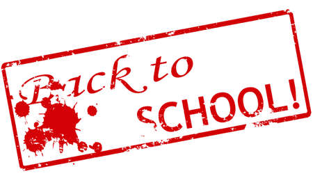 backwards: Rubber stamp with text back to school inside, vector illustration