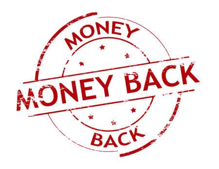 backwards: Rubber stamp with text money back inside, vector illustration