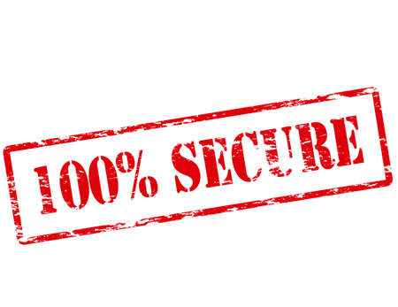 certain: Rubber stamp with text one hundred percent secure inside, vector illustration