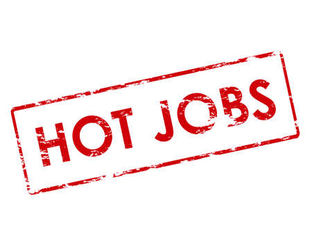 jobs: Rubber stamp with text hot jobs inside, vector illustration Illustration