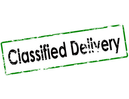 classified: Rubber stamp with text classified delivery inside, vector illustration