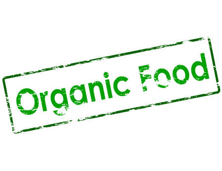 chow: Rubber stamp with text organic food inside, vector illustration