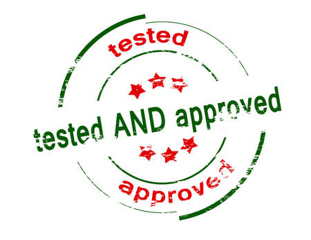 tested: Rubber stamp with text tested and approved inside, vector illustration