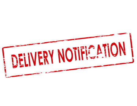 알림: Rubber stamp with text delivery notification inside, vector illustration