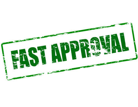 approbation: Rubber stamp with text fast approval inside, vector illustration