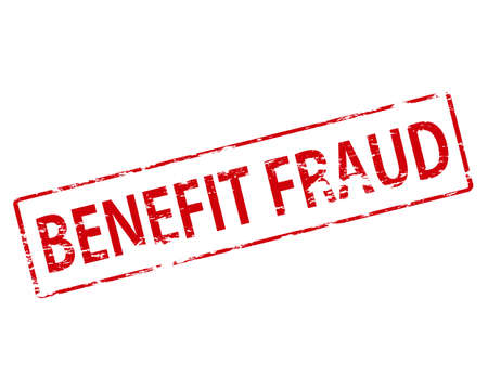 imposture: Rubber stamp with text benefit fraud inside, vector illustration