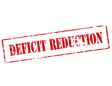deficit: Rubber stamp with text deficit reduction inside, vector illustration
