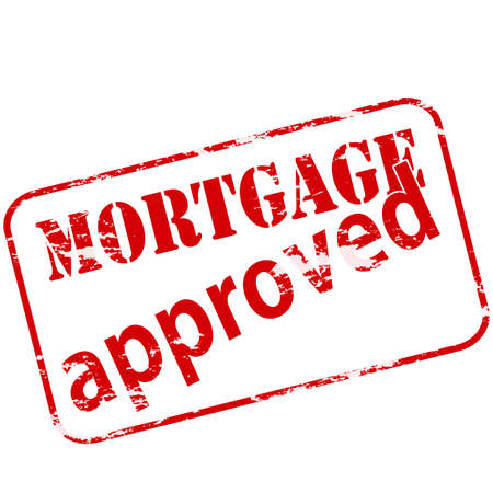 guaranty: Rubber stamp with text mortgage approved inside, vector illustration