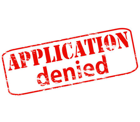 denied: Rubber stamp with text application denied inside, vector illustration