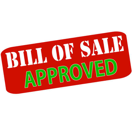 persuasion: Rubber stamp with text bill of sale approved inside, vector illustration