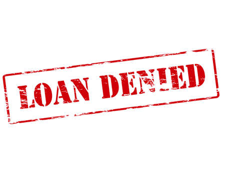 lodging: Rubber stamp with text loan denied inside, vector illustration