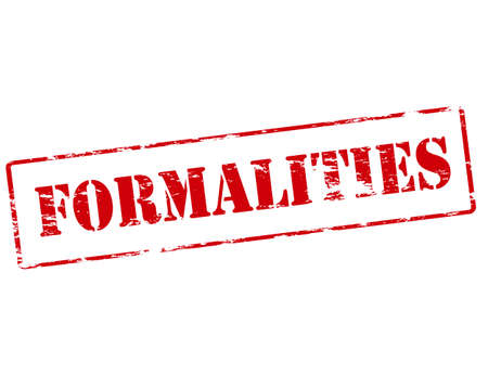formalities: Rubber stamp with word formalities inside, vector illustration