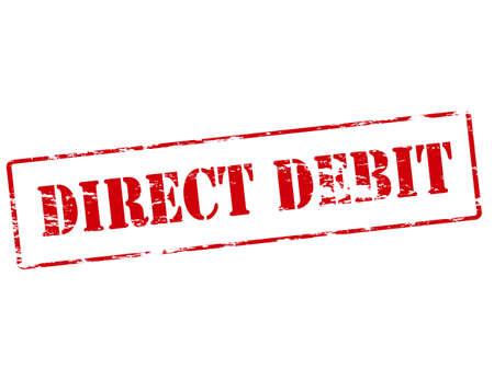 debit: Rubber stamp with text direct debit inside, vector illustration