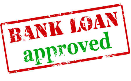 lending: Rubber stamp with text bank loan approved inside illustration