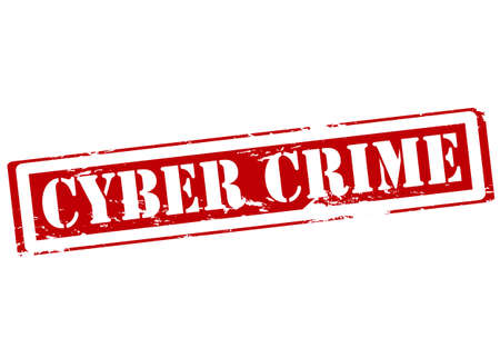 offense: Rubber stamp with text cyber crime inside illustration
