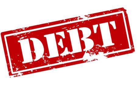 indebtedness: Rubber stamp with word debt inside illustration