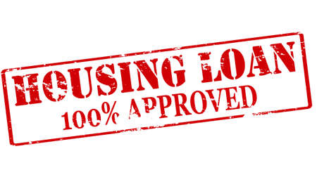 one hundred: Rubber stamp with text housing loan one hundred percent approved inside illustration Illustration