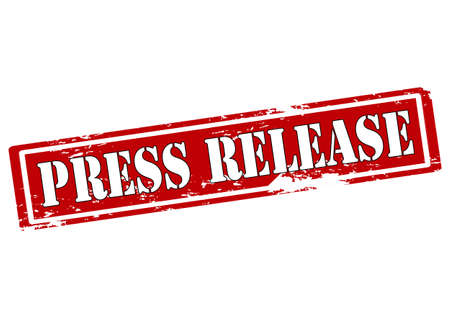 press release: Rubber stamp with text press release inside illustration