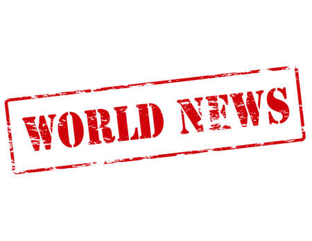 world news: Rubber stamp with text world news inside illustration