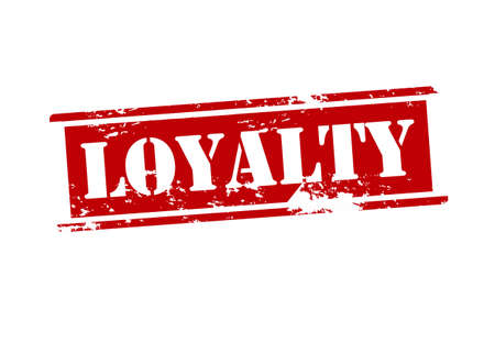 Rubber stamp with word loyalty inside illustration