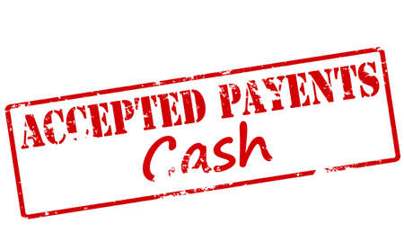 acknowledged: Rubber stamp with text accepted payment cash inside illustration
