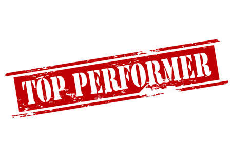 performer: Rubber stamp with text top performer inside illustration