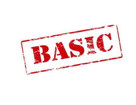 basic: Rubber stamp with word basic inside illustration Illustration