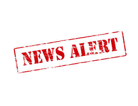 uneasiness: Rubber stamp with text news alert inside illustration Illustration