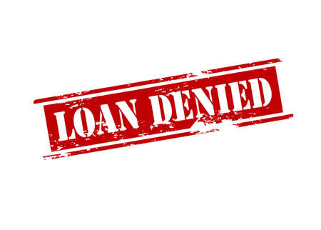 Rubber stamp with text loan denied inside illustration