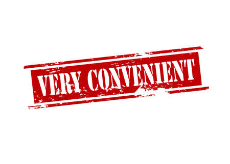 the convenient: Rubber stamp with text very convenient inside illustration