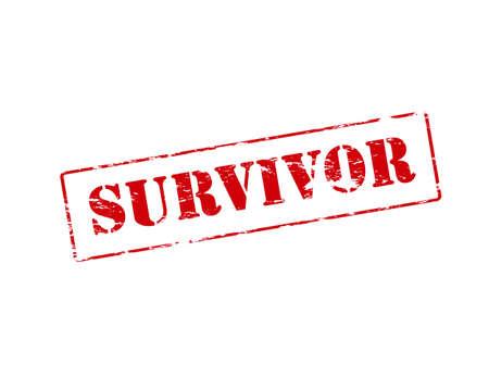 survivor: Rubber stamp with word survivor inside illustration