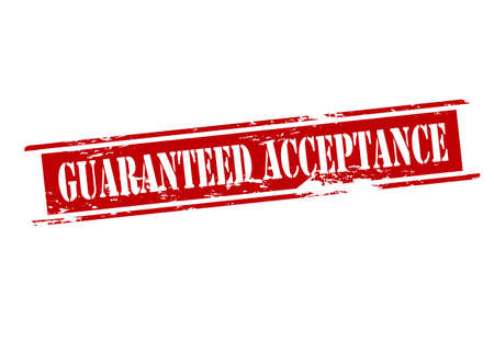 acceptation: Rubber stamp with text guaranteed acceptance inside, vector illustration