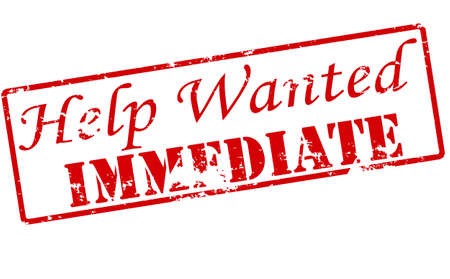 help wanted sign: Rubber stamp with text help wanted immediate inside, vector illustration Vectores
