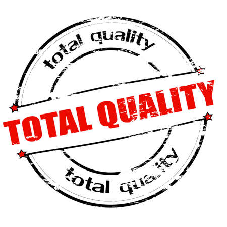 totales: Sello de goma con el texto de la calidad total en el interior, ilustraci�n vectorial