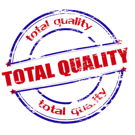 total: Rubber stamp with text total quality inside, vector illustration