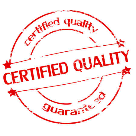 attribute: Rubber stamp with text certified quality inside, vector illustration Illustration