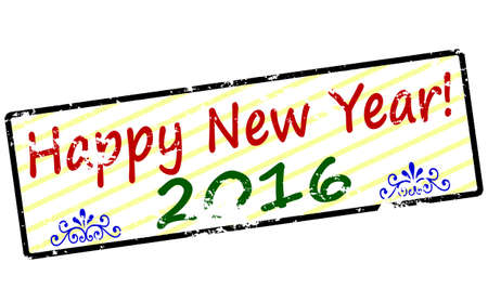 happy new year text: Rubber stamp with text Happy new year inside, vector illustration Illustration