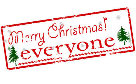 Rubber stamp with text Merry Christmas everyone inside, vector illustration