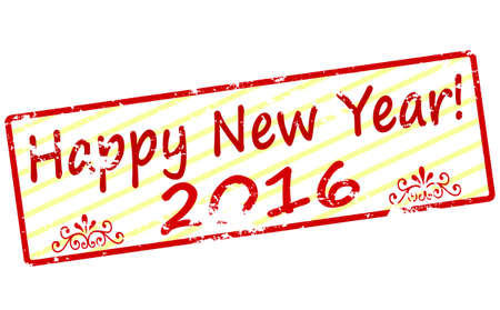 two thousand: Rubber stamp with text Happy new year inside, vector illustration Illustration