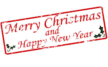 fortunate: Rubber stamp with text Merry Christmas and Happy New Year inside, vector illustration