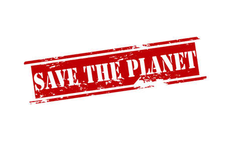 Rubber stamp with text save the planet inside, vector illustration Illustration
