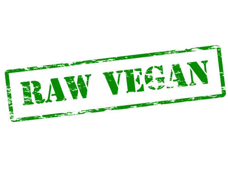 harsh: Rubber stamp with text raw vegan inside, vector illustration Illustration