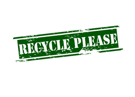 please: Rubber stamp with text recycle please inside, vector illustration