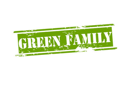 hearty: Rubber stamp with text green family inside, vector illustration