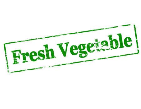 vegetal: Rubber stamp with text fresh vegetable inside, vector illustration