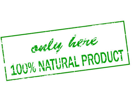 hither: Rubber stamp with text only here one hundred percent natural product inside, vector illustration Illustration